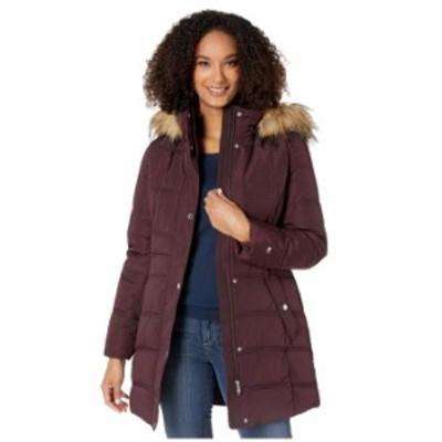 トミー ヒルフィガー レディース コート アウター Mid Length Hooded Puffer Jacket with Faux Fur trimmed Hood Aubergine