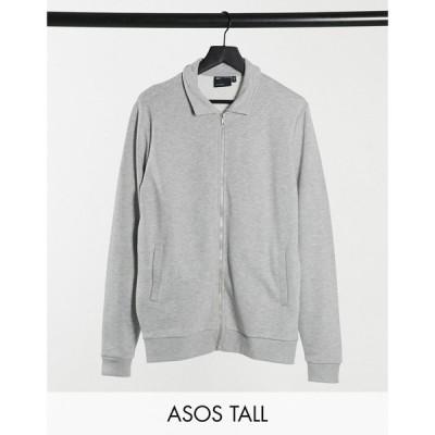 エイソス ASOS DESIGN メンズ ジャケット スイングトップ アウター Tall jersey harrington jacket in grey marl グレー