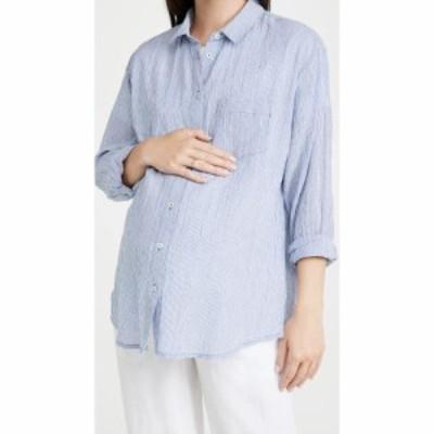 ハッチ HATCH レディース ブラウス・シャツ トップス Boyfriend Shirt Blue Pinstripe