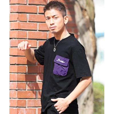 【ラグスタイル】 ポケット付きBIGTシャツ/Tシャツ メンズ 半袖 半袖Tシャツ ビッグシルエット ポケット メンズ ブラック L LUXSTYLE