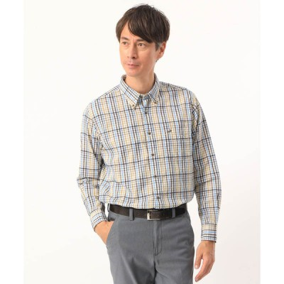 ヤマトインターナショナル メンズ クロコダイル モールチェックシャツ ブラウン LL