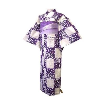 着物美人 浴衣 2点セット 綿麻 変り織り 女浴衣 浴衣女性 半幅帯紫 浴衣帯 帯付き 浴衣セット 街着 大人 女性用