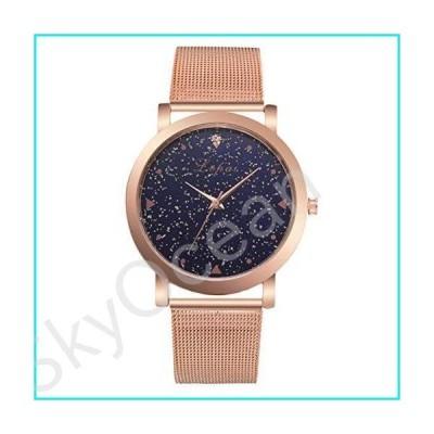 Women Elegant Leather Belt Quartz Wrist Watch Petite Starry Sky Analog Dress Watch Clothing Accessories (Rosy Gold)【並行輸入品】