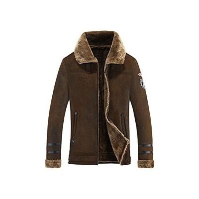 メンズ シェルパウールコート ラムベルベット ファージャケット メンズ スエードパーカー 秋冬 US サイズ: X-Large