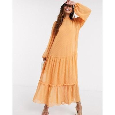 エイソス レディース ワンピース トップス ASOS DESIGN high neck tiered dobby maxi dress in mustard Mustard