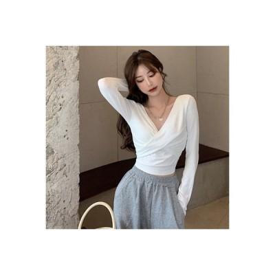 【送料無料】白いTシャツ 女 秋冬 デザイン 感 クロス タイト 着やせ 長袖 襟 ボトムシャツ 新 | 346770_A63912-8550811