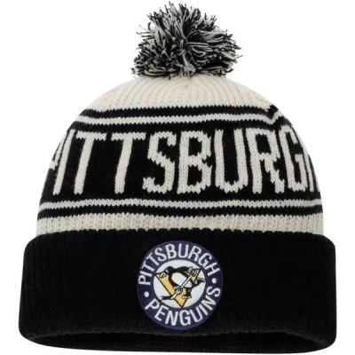 ユニセックス スポーツリーグ ホッケー Pittsburgh Penguins Fanatics Branded True Classic Z Route Cuffed Knit Hat with Pom - White - OS