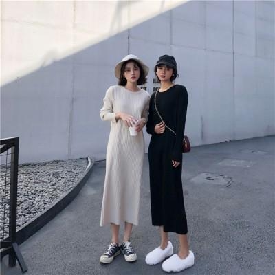 秋も使える♪♪💖限定SALE💖韓国ファッション おしゃれな ラウンドネック 怠惰な風 ニット 長袖 スリム カジュアル ワンビース