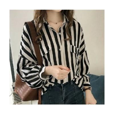 【XL/ブラック】長袖シャツ ブラウス ストライプ ボリューム袖 縦縞 長袖 ドロップショルダー シフォン おしゃれ 大人カジュアル