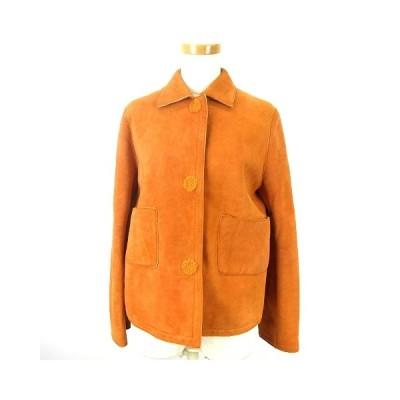 【中古】テポワンイグレグ te pwe igrek レザー ジャケット コート メリノムートン ステンカラー オレンジ 3 アウター レディース 【ベクトル 古着】