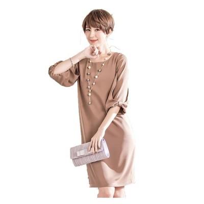 膝丈ドレス 予約 ゆったり大人可愛いリボンワンピースピンクベージュネイビーS-3L YJ-88070   送料無料
