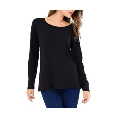 [スリーピングシープ] やわらか コットン 快適 長袖 Tシャツ 綿 フライス 丸首 クルーネック シンプル ストレッチ (a.ブラック M)