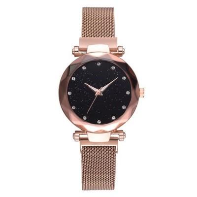 女性腕時計  星空ウォッチ スチールメッシュ  海外輸入品  ローズゴールド