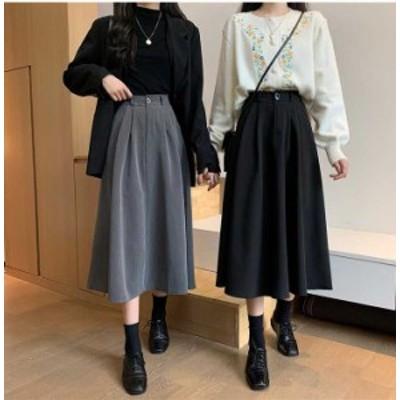大きいサイズ レディース ミモレ丈 フレアスカート Aライン ウエストゴム ボトムスビッグサイズ オーバーサイズ  韓国ファッション  LL 3