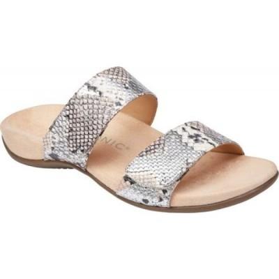 バイオニック Vionic レディース サンダル・ミュール シューズ・靴 Randi Two Strap Slide Silver Boa Metallic Leather