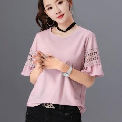 Tシャツ 4カラー 袖コンシャス パンチングレース 刺繍 シースルー フレアスリーブ 五分袖 Tシャツ カットソー シンプル ゆったり カジュアル