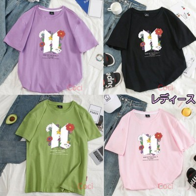 新品 レディース BTS Tシャツ 半袖 服 グッズ 女性 韓流グッズ ウェア 丸首 カットソー 防弾少年団 夏服