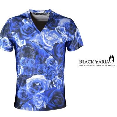 BlackVaria Tシャツ 花柄 バラ柄 薔薇 Vネック 半袖Tシャツ メンズ(ブルー青) bv05