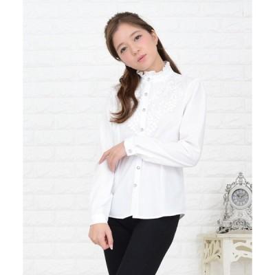 シャツ ブラウス 胸元レース×ラインストーンボタン 詰襟フリル長袖ブラウス シャツ