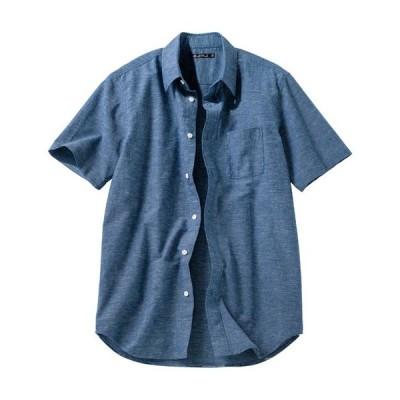 【バーゲン】きれいめ仕上げリネンブレンドシャツ(半袖) S M L LL|2488-249941