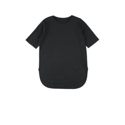 汗染み防止裾ラウンド5分袖Tシャツ