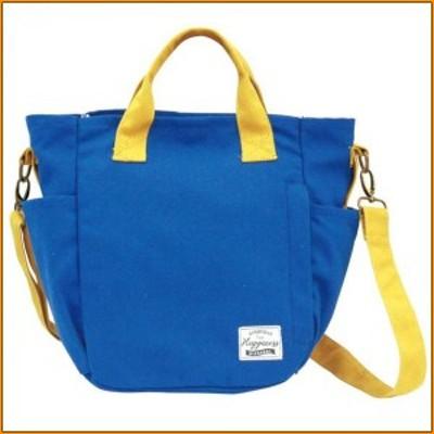 (送料無料)バイカラーミニショルダーバッグ ブルー 83635 ▼多ポケットのショルダーバッグです