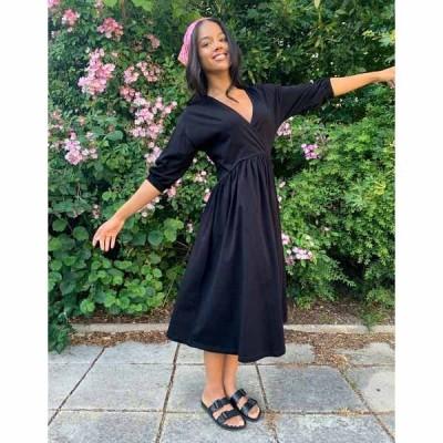 エイソス レディース ワンピース トップス ASOS DESIGN midi smock dress with wrap top in black Black
