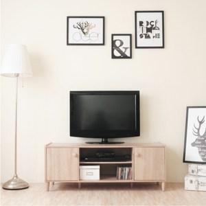 【Hopma】和風原木系二門電視櫃/收納櫃-淺橡木
