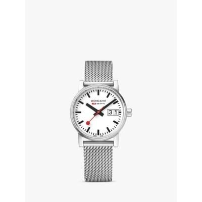 モンダイン 腕時計 レディース アクセサリー Mondaine MSE.30210.SM Unisex Evo 2 Date Mesh Bracelet Strap Watch, Silver/White