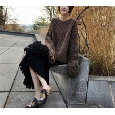 韓国ファッション ハイウエスト 編みスリム Aライン スカート