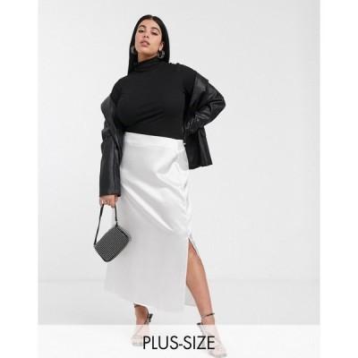 グラマラス Glamorous Curve レディース ロング・マキシ丈スカート スカート midaxi skirt in textured satin クリーム