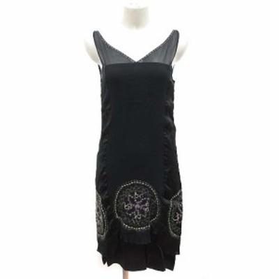【中古】ジルスチュアート JILL STUART ワンピース ひざ丈 ノースリーブ 絹 シルク 刺繍 2 黒 ブラック /KB レディース