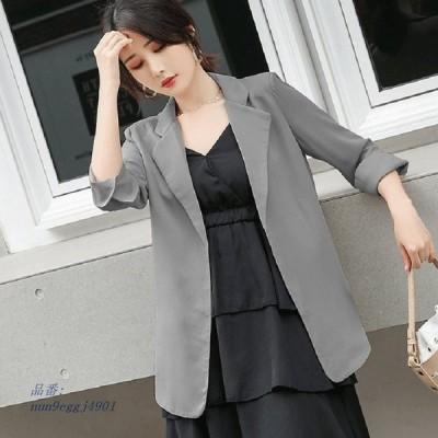CBAFU 夏薄型シフォンブレザージャケットスーツコート女性ゆるいカジュアルな生き抜く 3 分袖オフィスジャケットファッション P284 グループ上 レディース衣