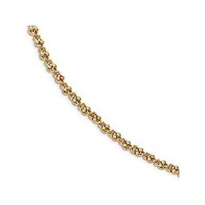 [新品]14k Yellow Gold Twisted Unique Link Bracelet - with Secure Lobster Lock Cla