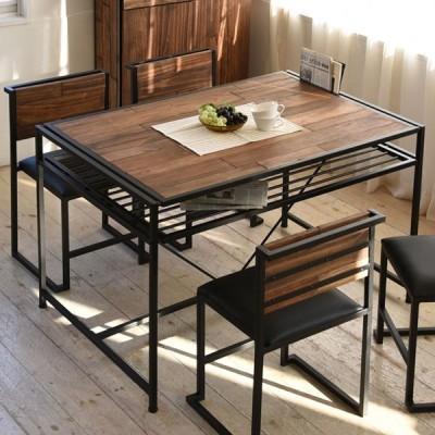 ダイニングテーブル 食卓 GRANT 天然木 スチールフレーム 幅120cm ( テーブル 食卓テーブル リビングテーブル ダイニング )