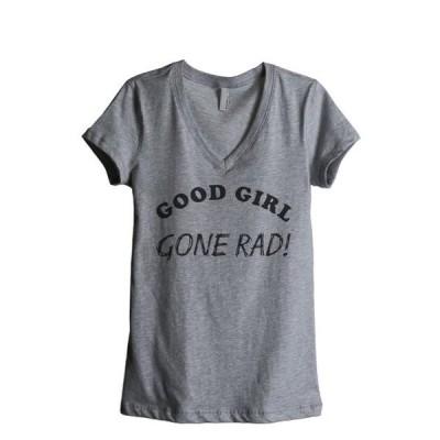 ガールズ 衣類 トップス Good Girl Gone Rad Women's Fashion Relaxed V-Neck T-Shirt Tee Heather Grey Small Tシャツ