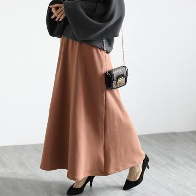 スカート 裏起毛 ロング丈 ボトムス 暖かい ゆったり 楽ちん レディース 20代 30代 40代 50代
