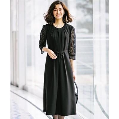 洗えるフォーマル前開きレース使いワンピース(選べる2レングス)【喪服。礼服】 (ブラックフォーマル)funeral outfit, plus size funeral outfit