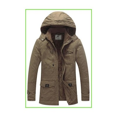 WenVen Men's Winter Insulated Cotton Hooded Fleece Parka Jacket Khaki S【並行輸入】【新品】