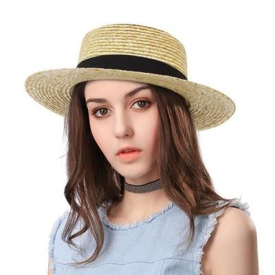 帽子レディース夏夏物つば広UVUVカットuv対策麦わら大きいサイズ折りたたみアゴ紐自転車飛ばない
