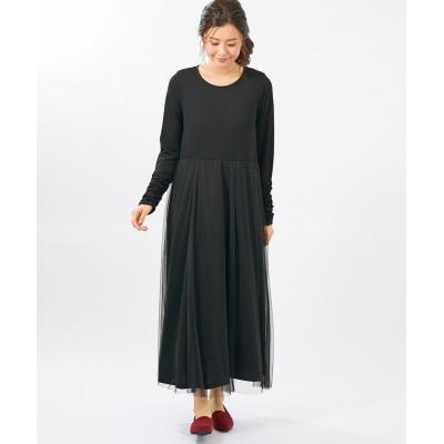 【大きいサイズ】 チュールドッキングワンピース(オトナスマイル) ワンピース, plus size dress