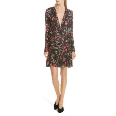 エーエルシー レディース ワンピース トップス Haven Ruched Floral Print Silk Dress BLACKTERR