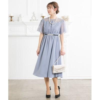袖付きドットチュールX花レース切替ワンピースドレス