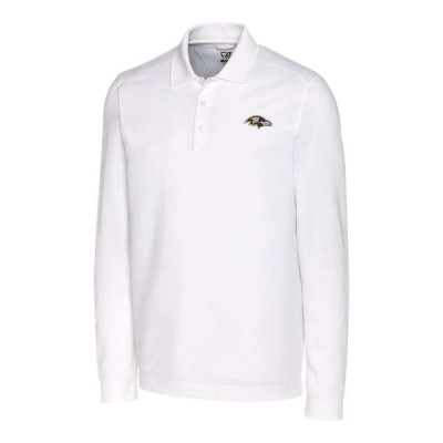 "メンズ ポロシャツ ""Baltimore Ravens"" Cutter & Buck Advantage Long Sleeve Polo - White"