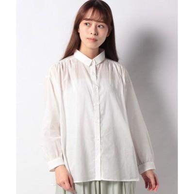 【グリーンパークス】レギュラーカラーギャザーシャツ