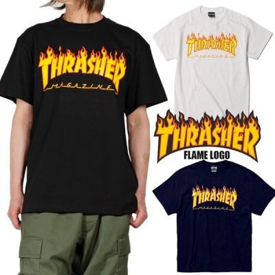 THRASHER Tシャツ メンズ レディース THRASHER マガジンフレイムロゴ  春 夏 正規 ブラック 黒ホワイト 白 ネイビー