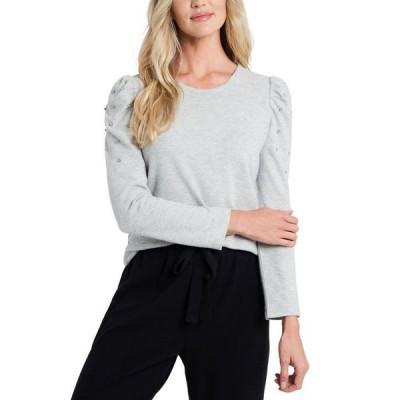 セセ レディース シャツ トップス Rhinestone-Embellished Puffed-Sleeve Sweater
