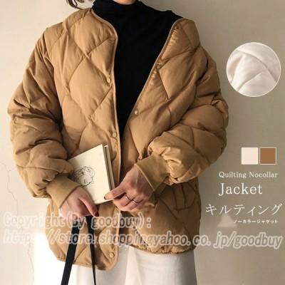 キルティング棉コート レディース ジャケット ノーカラー 中綿 暖か ポケット付 ボタン 秋新作 羽織り 軽い 保温 ボリューム 一部即納
