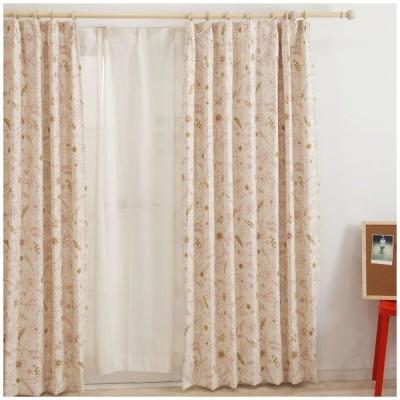 カーテン ドレープカーテン 遮光2級 花柄 AH545ハナハナ サイズオーダー巾45〜100cm×丈50〜100cm 1枚 OKC5