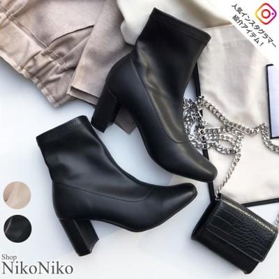 ShopNikoNiko スクエアトゥストレッチブーツ ブーツ 靴 シューズ ヒール スクエアトゥ ストレッチ レザー 上品 やわらかい 履きやすい起毛 美脚 トレンド 韓国ファッション レディース Instagram ブラック M レディース